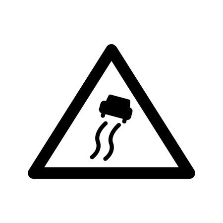 Vector Slippery Road Sign Icon 스톡 콘텐츠 - 124556757