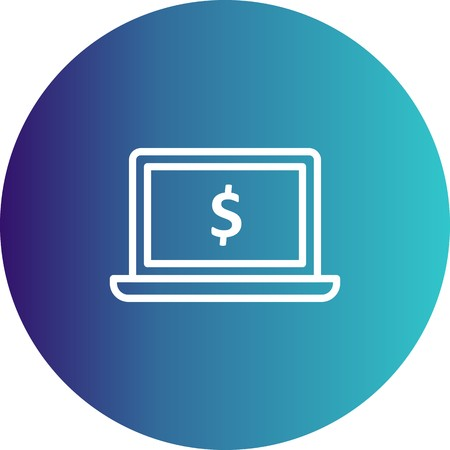 Vector Laptop Money Icon Çizim