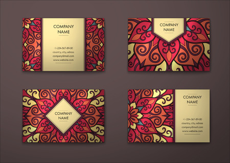 graphic card: Vector vintage visiting card set. Floral mandala pattern and ornaments. Oriental design Layout. Islam, Arabic, Indian, ottoman motifs. Front page and back page.