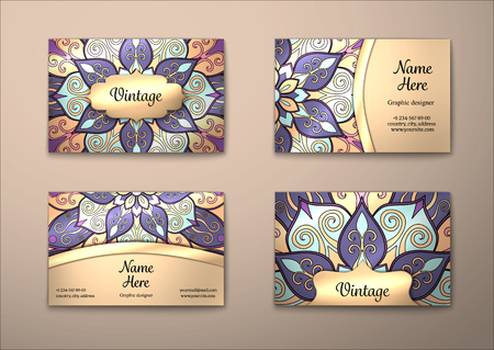 Vector vintage visiting card set. Floral mandala pattern and ornaments. Oriental design Layout. Islam, Arabic, Indian, ottoman motifs. Front page and back page.
