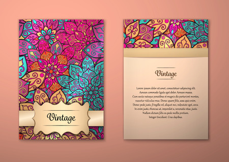 Vintage cards with Floral mandala pattern and ornaments. Vector Illustration