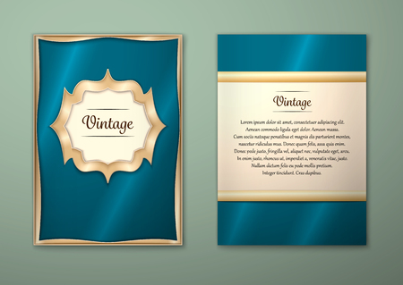 Brochure royal design Layout template, size A5. Gold frame.