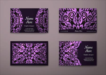 Conjunto de tarjeta de visita de la vendimia. modelo de la mandala floral y adornos. Disposición diseño oriental. Islam, el árabe, otomana, motivos indígenas.