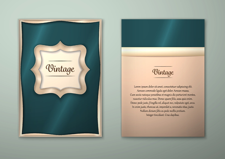 princely: Vector Brochure Flyer royal design Layout template, size A5. Gold frame. Front page and back page. Easy to use and edit.