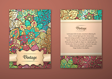 Vintage cards with Floral mandala pattern and ornaments. Vector Flyer oriental design Layout template, size A5. Islam, Arabic, Indian, ottoman motifs. Front page and back page. Easy to use and edit. Ilustracja