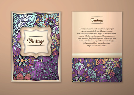 oriental vector: Vintage cards with Floral mandala pattern and ornaments. Vector Flyer oriental design Layout template, size A5. Islam, Arabic, Indian, ottoman motifs. Front page and back page. Easy to use and edit. Illustration