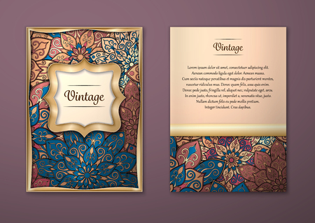 golden border: Vintage cards with Floral mandala pattern and ornaments. Vector Flyer oriental design Layout template, size A5. Islam, Arabic, Indian, ottoman motifs. Front page and back page. Easy to use and edit. Illustration