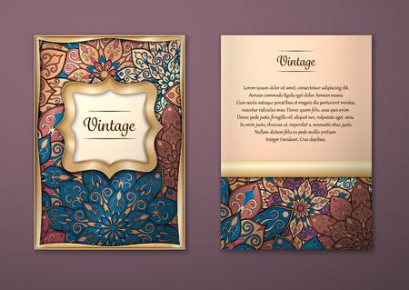 Vintage karty z kwiatowym wzorem mandali i ozdoby. Wektor wydruku orientalny wzór układ szablonu, rozmiar A5. Islam, arabskie, indyjskie, otomana motywy. Strona przednia i tylna strona. Łatwy w obsłudze i edycji.