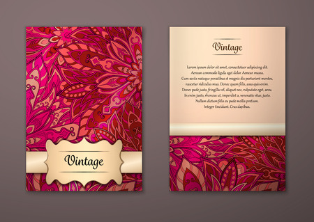 oriental: Vintage cards with Floral mandala pattern and ornaments. Vector Flyer oriental design Layout template, size A5. Islam, Arabic, Indian, ottoman motifs. Front page and back page. Easy to use and edit. Illustration