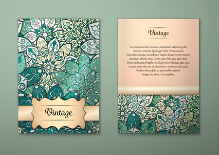 a5: Vintage cards with Floral mandala pattern and ornaments. Vector Flyer oriental design Layout template, size A5. Islam, Arabic, Indian, ottoman motifs. Front page and back page. Easy to use and edit. Illustration