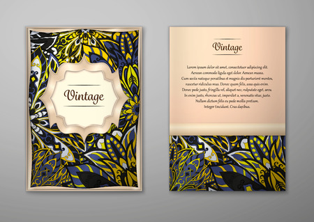 easy: Vintage cards with Floral mandala pattern and ornaments. Vector Flyer oriental design Layout template, size A5. Islam, Arabic, Indian, ottoman motifs. Front page and back page. Easy to use and edit. Illustration