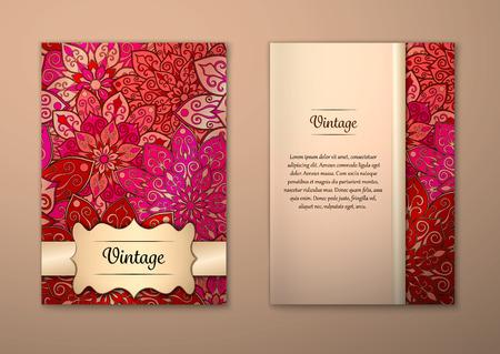 Vintage-Karten mit Blumen-Mandala Muster und Ornamente. Vector Flyer orientalischen Design Layout-Vorlage, Größe A5. Islam, Arabisch, Indisch, Ottomane Motive. Vorderseite und Rückseite. Einfach zu bedienen und zu bearbeiten.