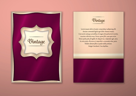 Vector Brochure Flyer royal design Layout template, size A5. Gold frame. Front page and back page. Easy to use and edit. Vektoros illusztráció