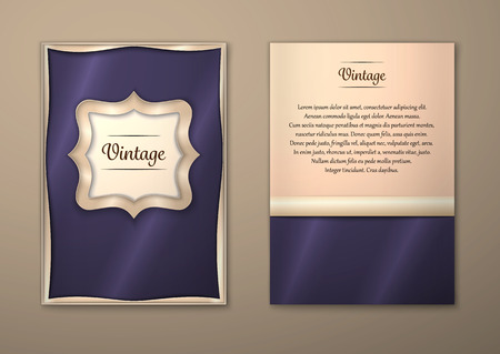 a5: Vector Brochure Flyer royal design Layout template, size A5. Gold frame. Front page and back page. Easy to use and edit.