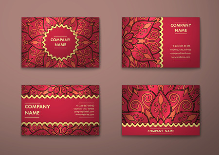 oriental vector: Vector vintage visiting card set. Floral mandala pattern and ornaments. Oriental design Layout. Islam, Arabic, Indian, ottoman motifs. Front page and back page.