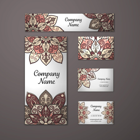 motif: Templates set. Business cards, invitations and banners. Floral mandala pattern and ornaments. Oriental design Layout. Asian, Arabic, Indian, ottoman motifs. Illustration