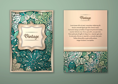 layout: Vintage cards with Floral mandala pattern and ornaments. Vector Flyer oriental design Layout template, size A5. Islam, Arabic, Indian, ottoman motifs. Front page and back page. Easy to use and edit. Illustration