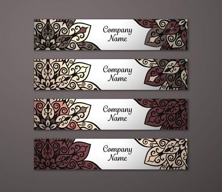 floral ornaments: Banner set. Floral mandala pattern and ornaments. Oriental design Layout. Asian, Arabic, Indian, ottoman motifs.