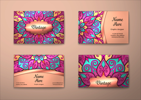 name card: Vector vintage visiting card set. Floral mandala pattern and ornaments. Oriental design Layout. Islam, Arabic, Indian, ottoman motifs. Front page and back page.
