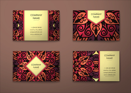 visiting card: Vector vintage visiting card set. Floral mandala pattern and ornaments. Oriental design Layout. Islam, Arabic, Indian, ottoman motifs. Front page and back page.