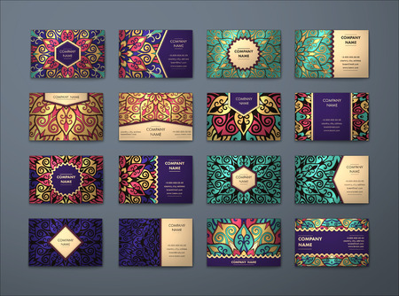 royal: Vector vintage business cards big set. Floral mandala pattern and ornaments. Oriental design Layout. Islam, Arabic, Indian, ottoman motifs. Front page and back page.