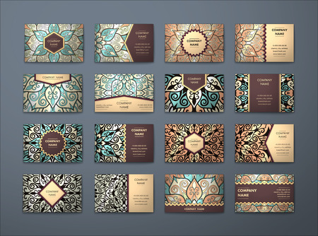 mandala: Vector vintage business cards big set. Floral mandala pattern and ornaments. Oriental design Layout. Islam, Arabic, Indian, ottoman motifs. Front page and back page.
