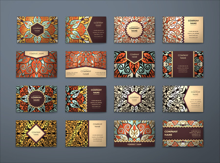 name card design: Vector vintage business cards big set. Floral mandala pattern and ornaments. Oriental design Layout. Islam, Arabic, Indian, ottoman motifs. Front page and back page.