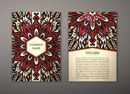 Flyer mit Floral Mandala-Muster und Ornamente. Vector Flyer orientalischen Design Layout-Vorlage, Größe. Islam, Arabisch, Indisch, Ottomane Motive. Vorderseite und Rückseite. Einfach zu bedienen und zu bearbeiten.