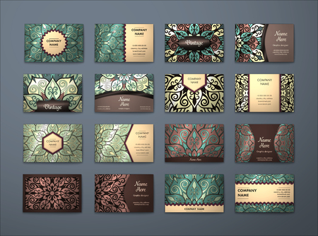 Vector vintage business cards big set. Floral mandala pattern and ornaments. Oriental design Layout. Islam, Arabic, Indian, ottoman motifs. Front page and back page. Vektorové ilustrace