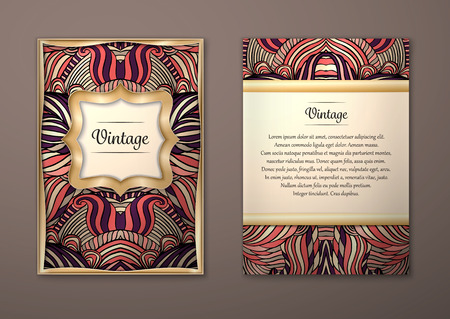 Vintage card with tribal abstract pattern and ornaments. Vector Flyer ethnic design Layout template. Gold frame. Front page and back page. Easy to use and edit. Vector Illustration