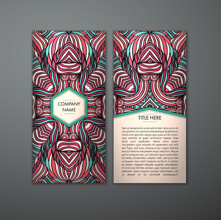 flayer: Vintage card with tribal abstract pattern and ornaments. Vector Flyer ethnic design Layout template. Front page and back page. Easy to use and edit.