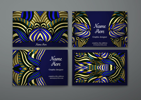 Vector business card set. Tribal abstract pattern pattern and ornaments. Ethnic design Layout. Front page and back page. Illustration