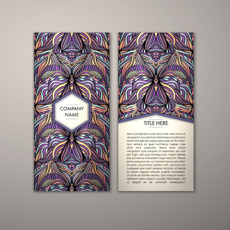 Flyer template with abstract ornament pattern. Vector greeting card design. Front page and back page. Illustration