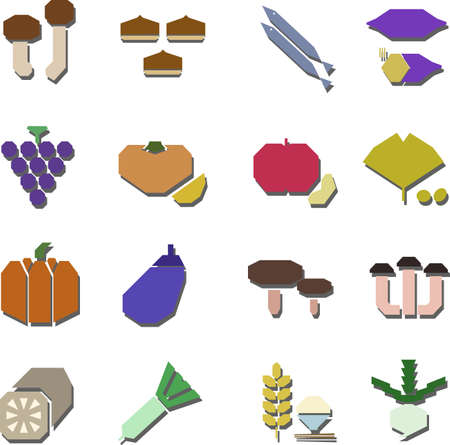 illustration of autumn foods collection
