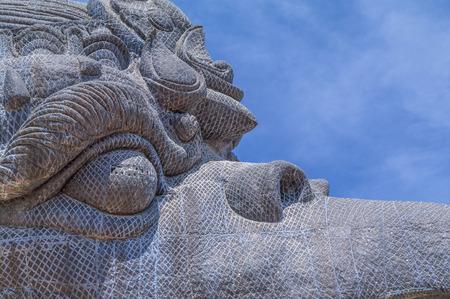 garuda: close up of Garuda face statue in GWK cultural park Bali Indonesia