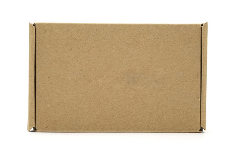 shipped: A front view of brown box, being closed, isolated on white