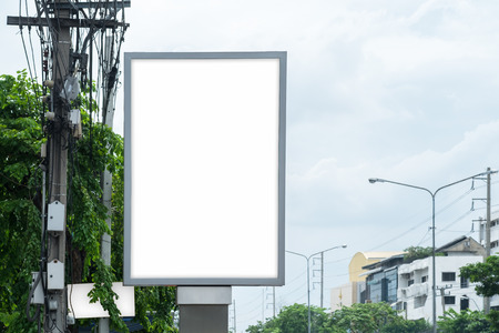 street signs: Poster Mockup Template in Bangkok, Blank space Stock Photo