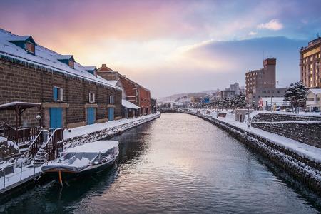 冬の朝、北海道、日本の小樽運河