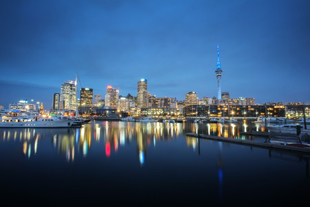Auckland cityscape at night, long exposure and selective focus at building Stock Photo