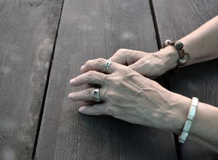 weary: Woman weary hands detail