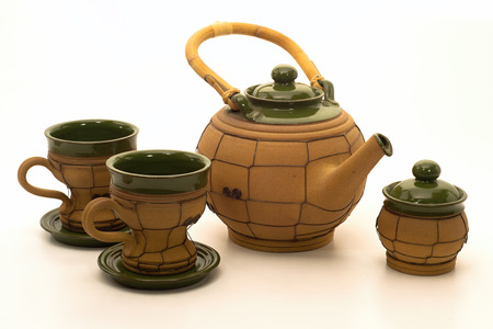 suger: Ceramic teapot, two cups and suger bowl