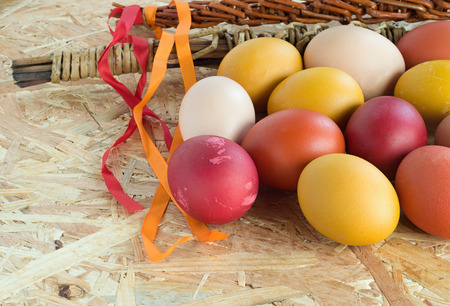 withe: Easter colorful eggs and withe with ribbons
