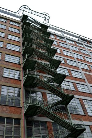 fire escape: External fire escape steel staircase
