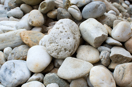 on smooth: Mix of smooth and round river pebbles Stock Photo