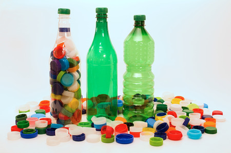 wastage: Plastic bottles and colorful cups for recycling