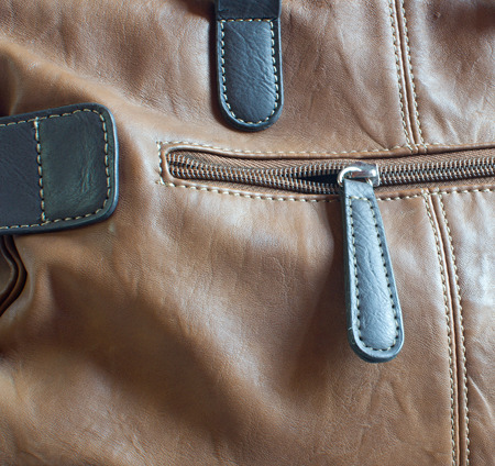 practical: Detail of practical modern brown leather bag