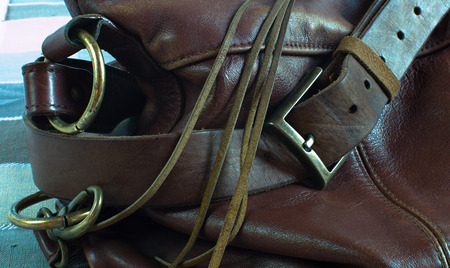 buckles: Detail of brown leather bag with buckles