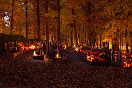 lumen: All souls day at cemetery in the night