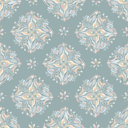 Vector seamless mandala pattern with blue, orange and pink floral on a medium greenish gray color background. Perfect for fabric scrapbook, wallpaper projects. Illustration