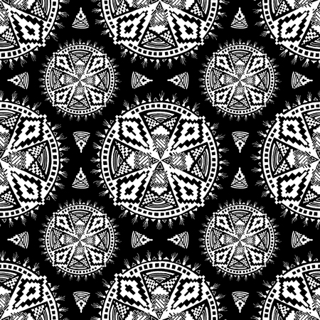 White Aztec Mandala Pattern on a Black Background